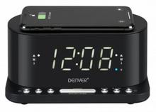 """Clockradio med trådløs oplader Denver Electronics CRQ-110 12"""" LED USB Sort"""