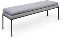 Eloise stoppad bänk skumstoppning polyester-överdrag stålben grå