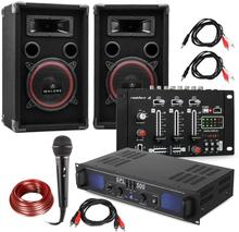 """DJ PA Set """"DJ-14"""" USB, PA-förstärkare, USB-mixer, 2x högtalare, karaoke-mick"""