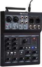Blackbird 6-kanal mixer mixerbord, BT, USB, MP3, 2 x XLR-mikrofon, svart