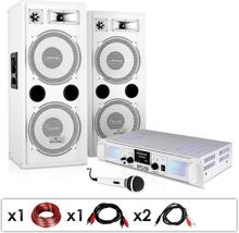 """DJ PA-anläggning """"DJ-22"""" förstärkare högtalare mic kabel 2 x 350 W"""