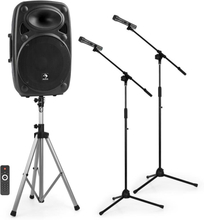 """Streetstar15 mobil PA-anläggning-set 15""""PA-anlägging speakerstativ mikrofonstativ"""