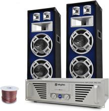 """DJ-PA set """"Bass TiTan"""" förstärkare, högtalare, 1600 W"""