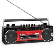 Duke MKII kassettbandspelare radio BT USB SD teleskopantenn svart röd