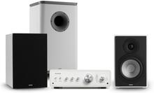 Drive 802 stereo-set förstärkare+högtalare+subwoofer + cover vit/grå