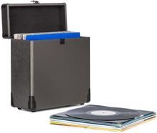 Vinylbox Alu LP-koffer för upp till 30 Vinylskivor Ihopfällbart lock Svart