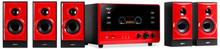 V51 aktivt 5.1 surround-ljudsystem USB SD AUX röd