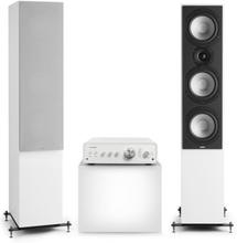 Drive 801 stereo-set stereo-förstärkare + golvhögtalare vit / grå