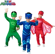 PJ Masks Costume Cosplay Half Face Mask Funny Halloween Party Superhero Anime Figure Kids Clothes Sets Child Festival Gift
