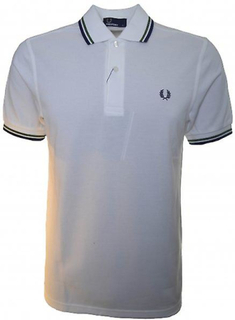 Fred Perry Fred Perry mäns vit Twin tippas Polo Shirt XXL