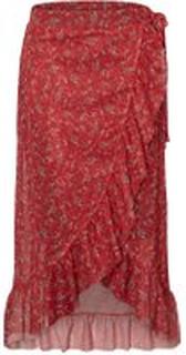 PIECES Printet Flæse Nederdel Kvinder Rød