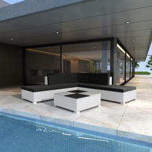 vidaXL Loungegrupp för trädgården med dynor 6 delar konstrotting vit