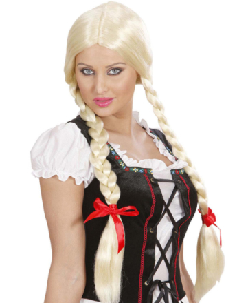 Søt Blond Parykk med Lange Fletter og Røde Sløyfer