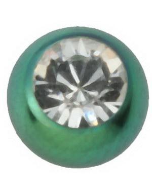 3 mm - Grønn med blank stein - Titan kule til 1,2 mm stang