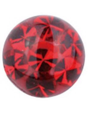 Glitter Stone Red - Dermal Anchor 4 mm Kule med 1,2 mm gjenger