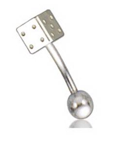Silver Cube 1.2 x 8 mm med 3 mm Kule Øyenbrynspiercing