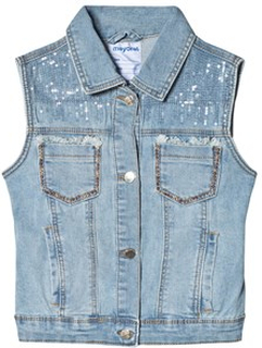 Mayoral Light Denim Sequin and Studded Väst 8 years