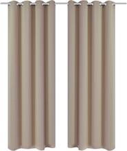 vidaXL Mörkläggningsgardiner 2 st med öljetter 135x175 cm gräddvit