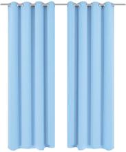 vidaXL Mörkläggningsgardiner 2 st med öljetter 135x175 cm turkos
