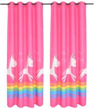 vidaXL Mörkläggningsgardiner för barn 2 st 140x240 cm enhörningar rosa