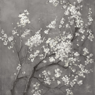 White Cherry Blossoms I on Grey Crop Fototapeter & Tapeter 100 x 100 cm