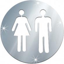 Klistermärke Dekal Toa Toalett Brådskande Man och Kvinna Silver