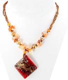 Smycke med Fyrkantigt Hänge & Pärlkedja – Rött