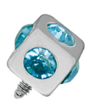 Firkantet Sølvfarget Dermal Anchor Kule med Lys Blå Stener - Strl 3 mm kule med 1,2 mm gjenger