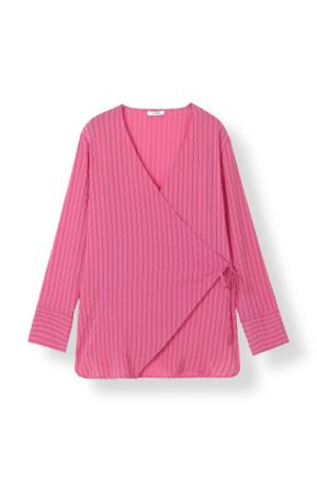 Ganni Lynch Seersucker Hot Pink Skjortebluse-40 - Me and the Met