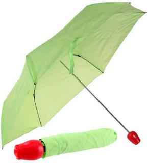 Grønn Paraply m/Rødt Roseformet Håndtak
