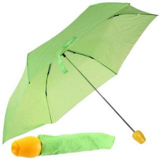 Grønn Paraply m/Gult Roseformet Håndtak