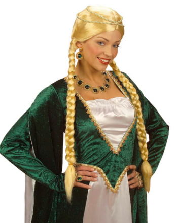 Blond Parykk med lange Fletter og Hodepynt