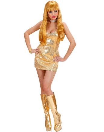 Glittrande Guldfärgad Paljettklänning