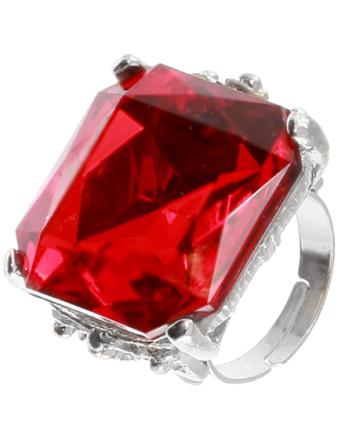 Silverfärgad Ring med Röd Fyrkantig Sten - Justerbar