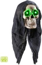 Grim Reaper Hodeskalle m/Grønt Lys - Dekorasjon