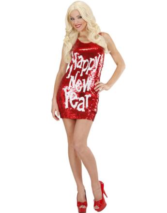 Happy New Year - Röd Klänning med Paljetter