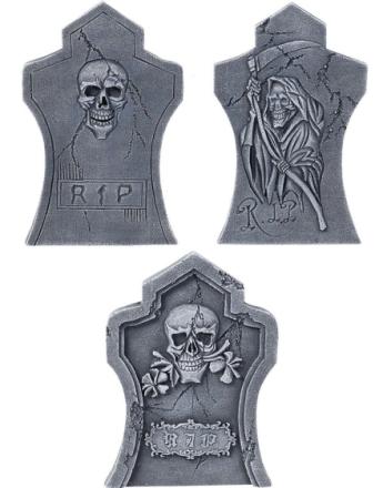 Sett med 3 Stk Gravstøtter - Halloween Dekorasjon 55x35 cm