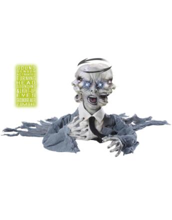 Gjenoppstått Zombie med Bevegende Hode & Lys - Dekorasjon 40 cm