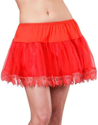 35 cm Underskjørt med Blondekant - Rød