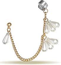 Ear Cuff i Guld med Hängande Pärlor
