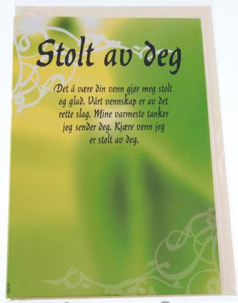 Stolt Av Deg - Kort m/Konvolutt