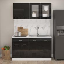 vidaXL Kjøkkenskapsett 4 deler høyglans svart sponplate