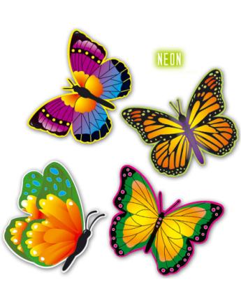 Fargerike Sommerfugl Veggdekorasjoner 32 cm - 4 Stk
