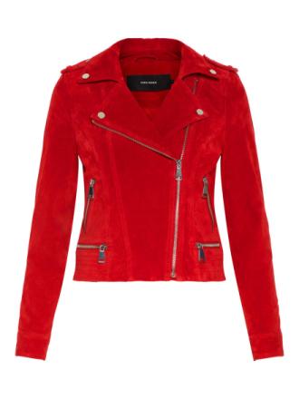 VERO MODA Suede Jacket Women Red