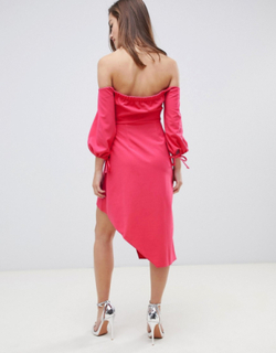 Bardot minikjole med lagdelt slå-om underdel fra ASOS Petite-Pink