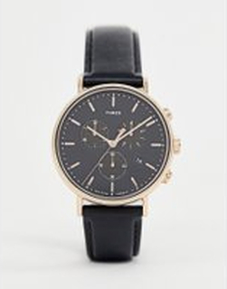 Timex Fairfield chronograph 41mm leather watch in black - Black
