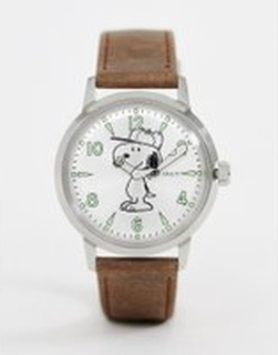 Timex x Snoopy Welton 40mm leather watch in brown - Brown