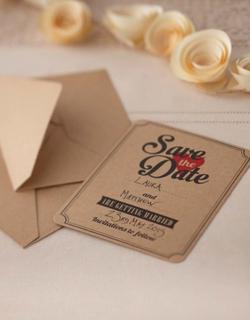 Save the Date - 10 Invitasjoner til Bryllup - Vintage Journey
