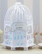 Stort Hvitt Fuglehus for Bryllupskort og Skilt - Vintage Luxury