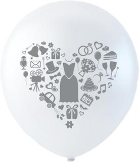 6 stk 26 cm - Hvite Bryllups Ballonger med Motiv